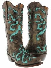 Women's Brown Overlay Leather Cowboy Cowgirl Leather Boots Western Rodeo Riding