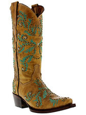 Women's Beige Turquoise Malaga Western Leather Cowboy Boots Cowgirl Rodeo Studs