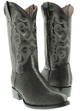 Mens Black Stingray Row Stone Exotic Leather Western Cowboy Boots Round Rodeo