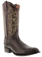 mens brown python exotic western cowboy boots biker round leather crocodile new