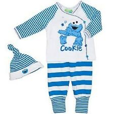 Licensed Baby Boys 3 Piece Cookie Monster Cotton  Outfit