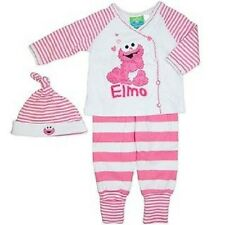 Licensed Baby Girls 3 Piece Pink & White Baby Elmo Cotton Outfit