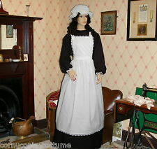 Ladies Victorian or Edwardian maids APRON AND MOP CAP ONLY costume fancy dress