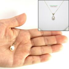 14k Yellow Gold Rabbit-Ear Bail; Diamond & 8-8.5mm White Cultured Pearl Pendant