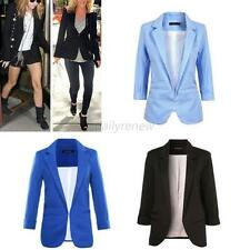 Candy Color Women Casual Slim Suit Blazer Jacket Coat 3/4 Sleeve Outwear D86