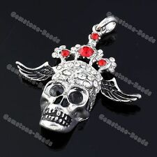 Crystal Rhinestone Crown Wings Evil Skull Head Pendant Bead For Necklace Chain