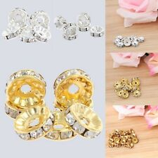 20pcs Gold/Silver Rhinestone Crystal Rondelle Faceted Spacer Beads 8mm 10mm Bulk