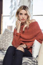 RUST (08) FOLDOVER SWEATER Top Chunky Knit Off the Shoulder Boat Neck NEW S M L