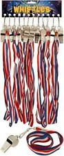 Steel Referees Sports Games Teachers Metal Whistle Red White & Blue Lanyard Cord
