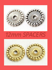 50 Snowflake-Style Spacer Beads - 12mm (SP059) Gold or Silver FREE POSTAGE