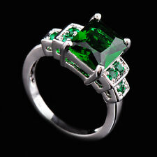 10*8MM Green Emerald  Wedding Ring CZ Gem 10Kt White Gold Filled Sz 6-10 Women's