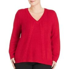 Faded Glory Women's Plus-Size V-Neck Cable Pullover Sweater Red Metallic 1X 16W
