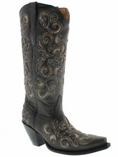 Womens Black Python Snake Flower Western Tall Leather Cowboy Boots Rodeo Cowgirl