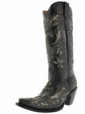 Womens Black Python Snake Cross Western Tall Leather Cowboy Boots Rodeo Cowgirl