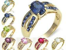 Size 6,7,8,9 Fashion Sapphire Topaz 10KT Gold Filled Women's Engagement Rings