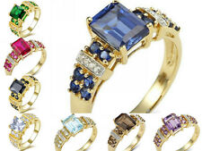 Size 6,7,8,9,10 Woman's Sapphire Emerald 10KT Gold Filled Fashion Wedding Rings