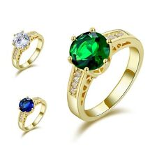 Size 6,7,8,9 Emerald Sapphire Nobby 18K Black Gold Filled Womens Wedding Rings