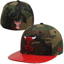 CHICAGO BULLS NEW ERA 59FIFTY WOODLAND CAMO SPLATTERED FITTED HAT/CAP NWT