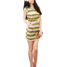 Ladies Cross V Neck Short Sleeve Front Tiered Striped Dress