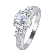 Three Stone 2.3CT Round CZ 10k White Gold Plated Wedding Engagement Ring Sz 6-9