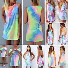 Sexy Womens Tie Dye Colorful Playsuit Party Evening Romper Dress Jumpsuit Shorts