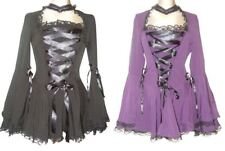 BLACK PURPLE GOTHIC CORSET LACE VAMPIRE TWILIGHT BELL SLEEVE TOP 10-28