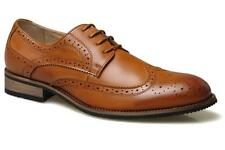 Mens Gents Boys New Tan Brown Leather Lined Lace-up Smart Brogues 6 - 13
