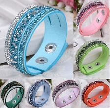 Fashion Crystal Rhinestone Leather Wrap Wristband Cuff Punk Bracelet Bangle