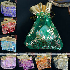 10pc 9x11cm Favour Organza Gift Bag Golden Christmas Wedding Voile Jewelry Pouch