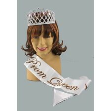 """Prom Queen Carrie Tiara Sash 2 PC Costume Kit Pink Purple Or Turquoise """"Jewels"""""""