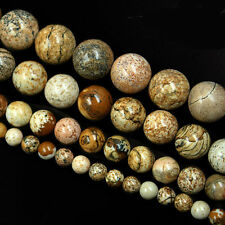 Brown Round Picture Jasper Round  Natural Stone Beads Necklace DIY 6/8/10/12mm