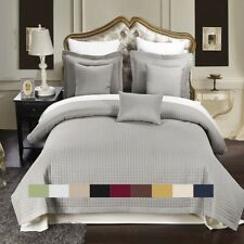 Luxury Checkered Quilted Wrinkle Free Coverlets Bedspread 100% Microfiber Set