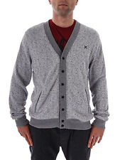 Hurley Knit Cardigan Retreat grey mottled Press Button Pockets