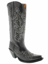 Womens Black Tall Studded Leather Western Cowboy Cowgirl Boots Rodeo Snip Riding