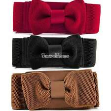 Women Graceful Bowknot Elastic Lovely Belt With Buckle Waistband 4 Colors SH