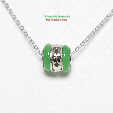 A Beautiful Necklace Green Jade Bead Slide in Solid Sterling Silver 925 Chain