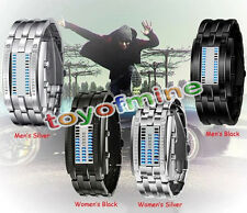 Luxury Men's Women Black Stainless Steel Date Digital LED Bracelet Sport Watche