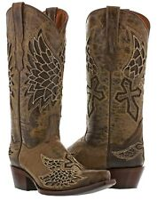 Womens Brown Wings Cross 2 Western Cowboy Cowgirl Leather Boots Rodeo Riding New