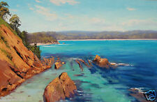 Beach painting saphire coast australian seascape original oil signed Wall Art