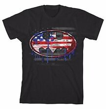DC Comics Youth's Patriotic Flag Batman  Logo T-Shirt