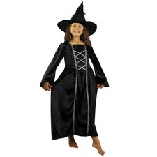 GIRLS BLACK VELOUR WITCH DRESS HALLOWEEN FANCY DRESS COSTUME WITH WITCHES HAT