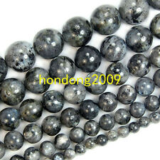 "4/6/8/10/12/14mm Natural Smooth Black Labradorite Round Loose Beads 15"" Choose"