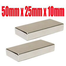 Very Strong 50mm x 25mm x 10mm Rare Earth Big Neodymium Block Magnet N50 Grade