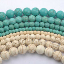 20/30/50/100Pcs Blue/White Howlite Natural Turquoise Round Spacer Beads Charms