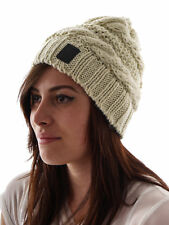 Brunotti Beanie Knitted Cap Karly beige Cable knitting pattern Logo Fleece