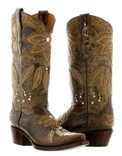 Womens Brown Summer Leather Cowboy Cowgirl Boots Western Rodeo Leaves Fall New