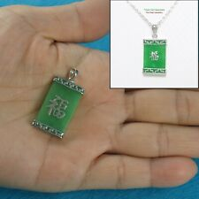 Green Jade Oriental Pendant Good Fortunes Crafted Solid Sterling Silver 925
