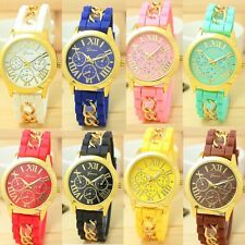 Fashion Geneva Women's Chain Silicone Roman Numerals Analog Quartz Wrist Watch