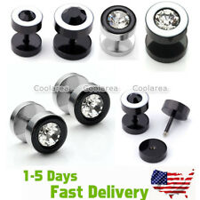 Pair MENS Steel 16G Crystal Fake 0G 00G Cheater Illusion Ear Stud Plugs Earrings
