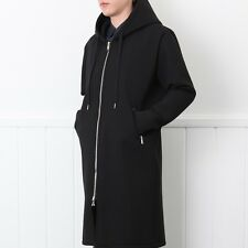 New Men's Cool Zip Up Long Hoodie Mod Hooded Black White Trench Coat Jacket